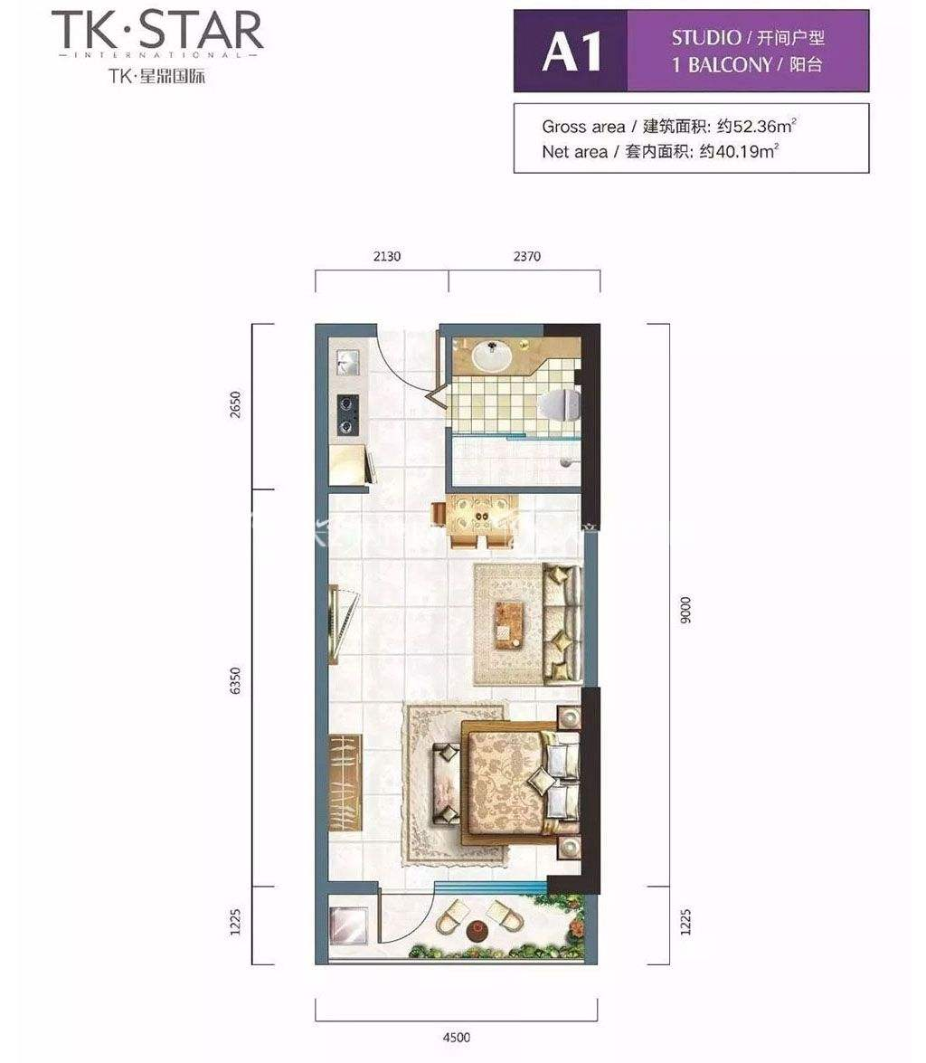 A1户型1房1厅1卫1厨1阳台