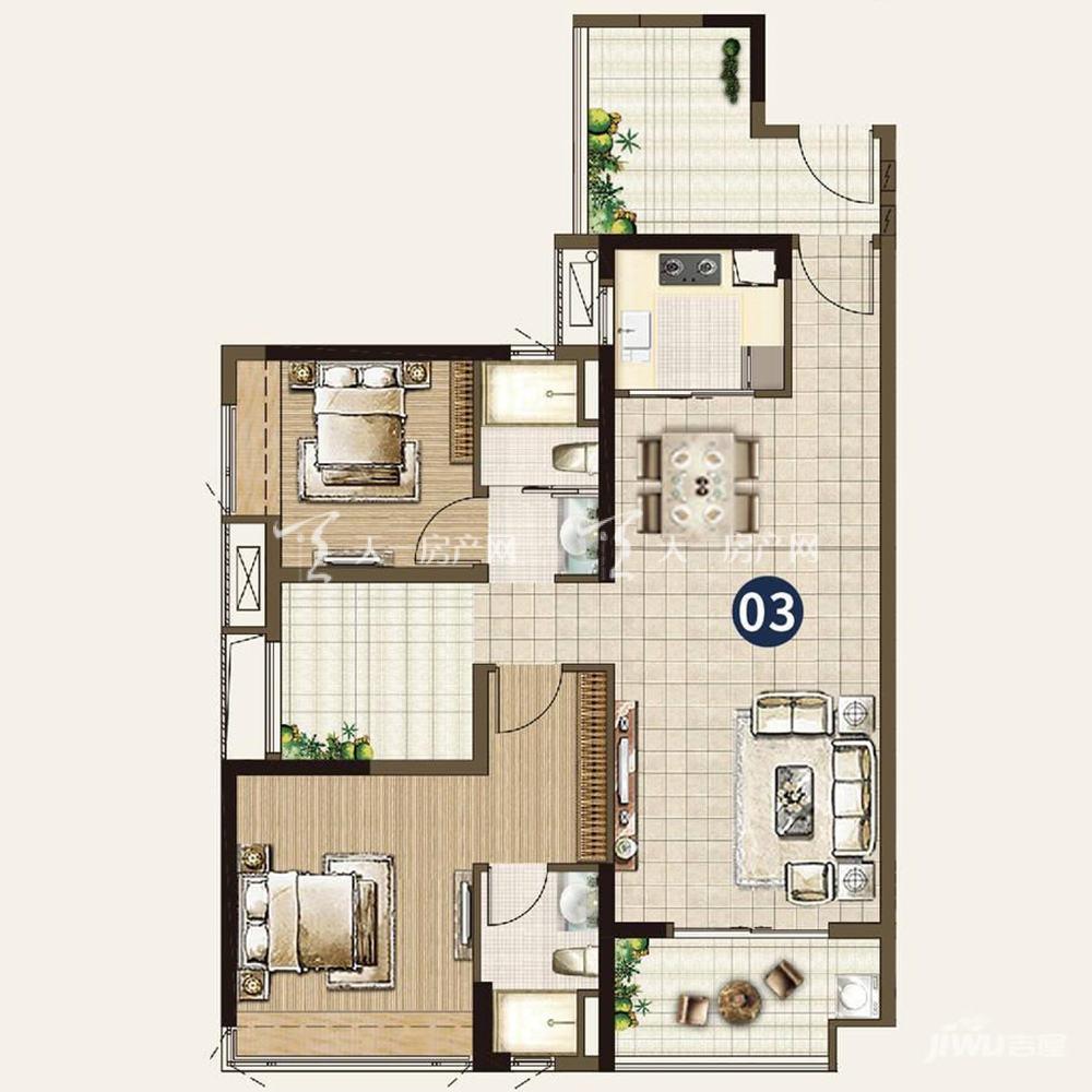 21栋:2室2厅2卫1厨 建筑面积109㎡