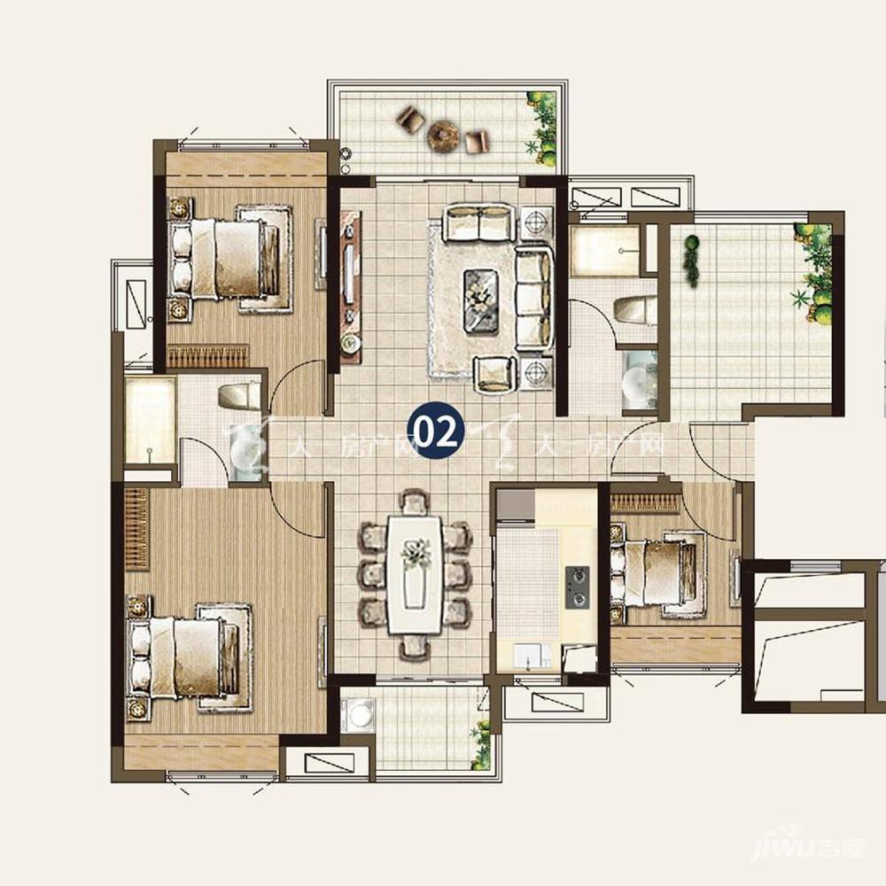 21栋:3室2厅2卫1厨 建筑面积115㎡