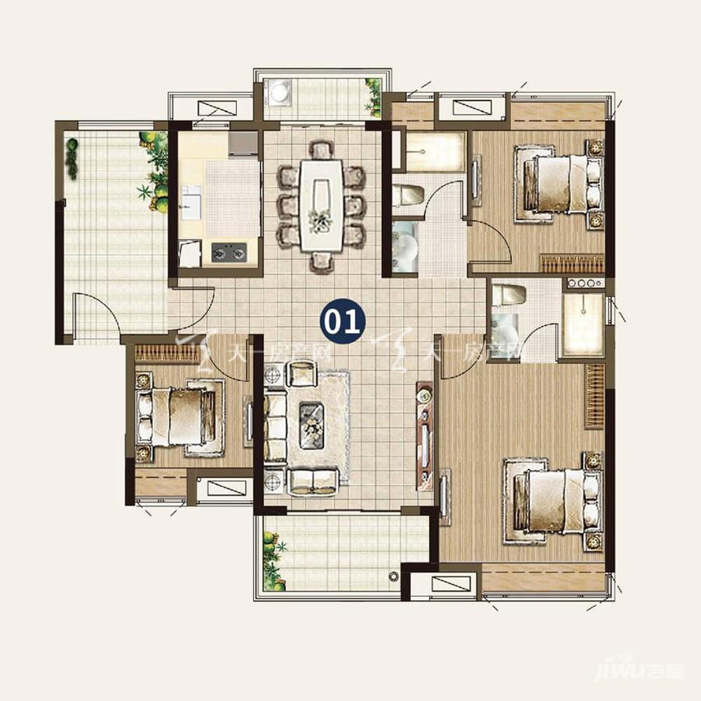 21栋:3室2厅2卫1厨 建筑面积116㎡