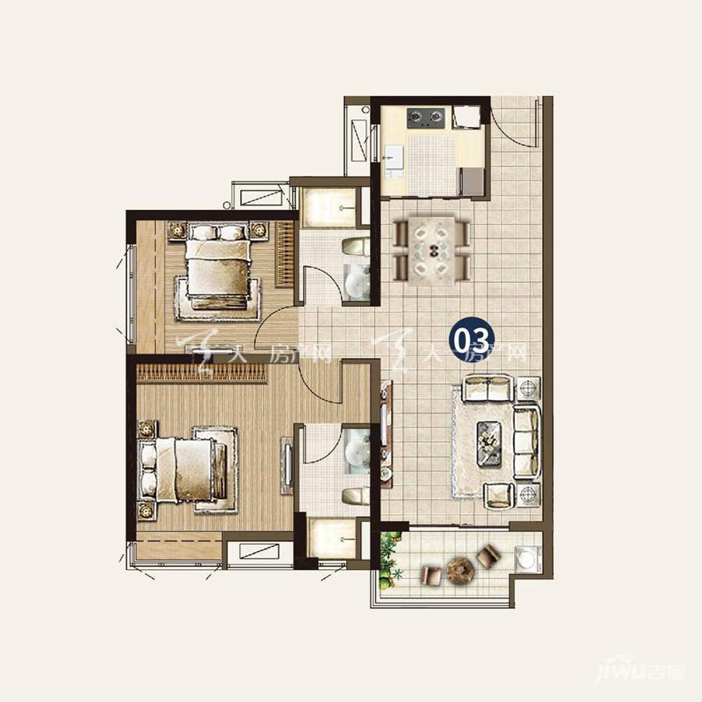 22栋:2室2厅2卫1厨 建筑面积95㎡