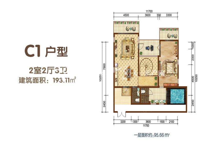 凤凰谷 C1户型-2室2厅3卫-193.11㎡