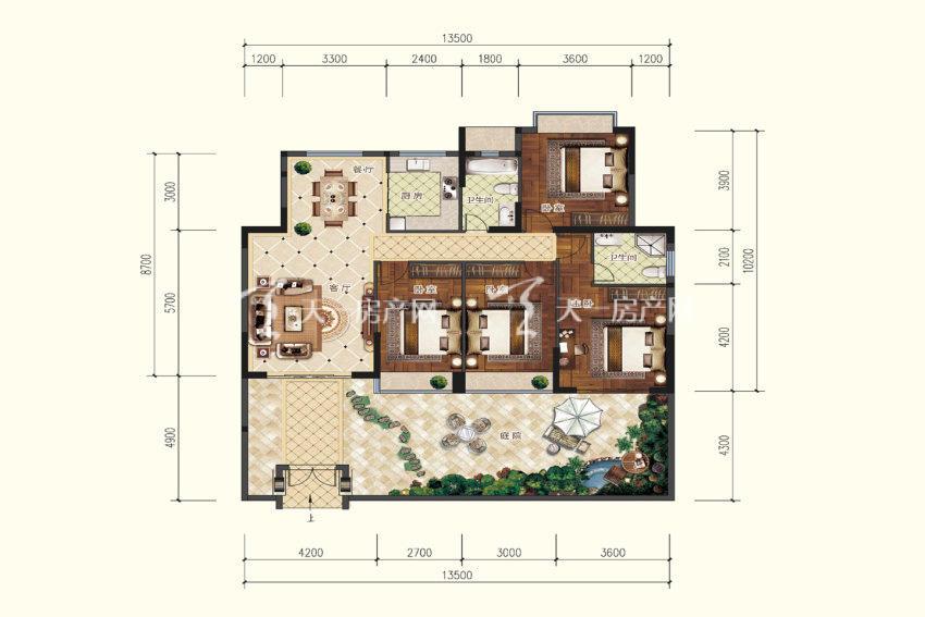 双龙苑 A2户型,4室2厅2卫,建筑面积约132.35平米.jpg
