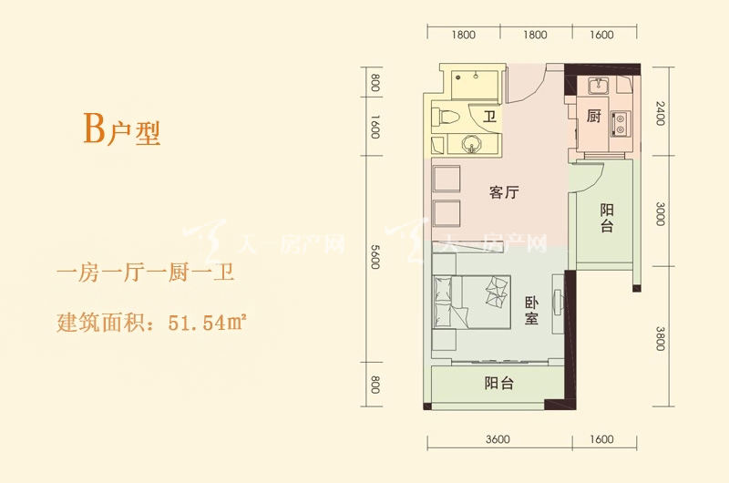 天成国际 B户型 1房1厅1厨1卫 51.54㎡.jpg