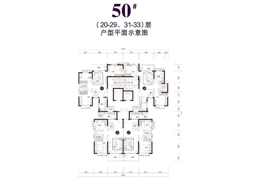 恒大御景湾 50#-户型平面图