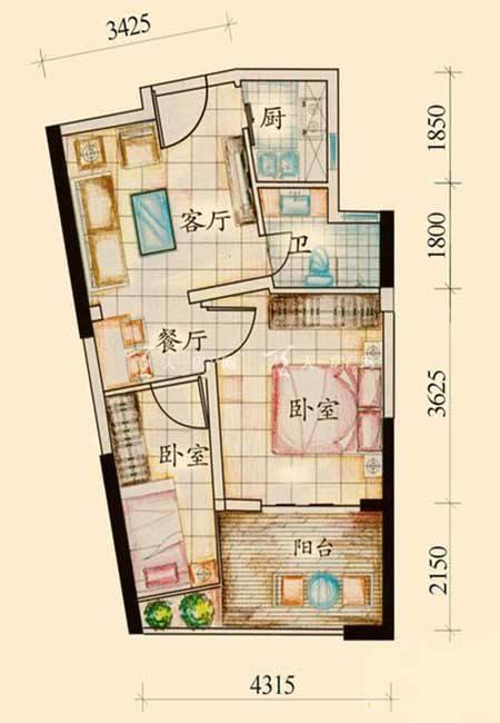 绿岛 绿岛B户型2室1厅1卫1厨52.95㎡.jpg