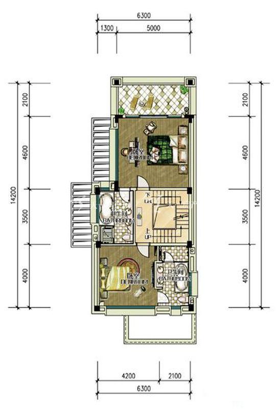 雅居乐清水湾-别墅D1户型二层2房0厅0厨2卫-87.42㎡.jpg