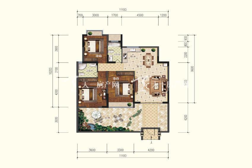 B1户型,3室2厅2卫,建筑面积约107.09平米.jpg