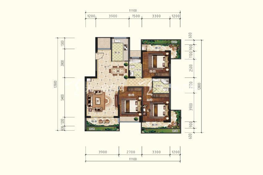 B5户型,3室2厅2卫,建筑面积约119.44平米.jpg