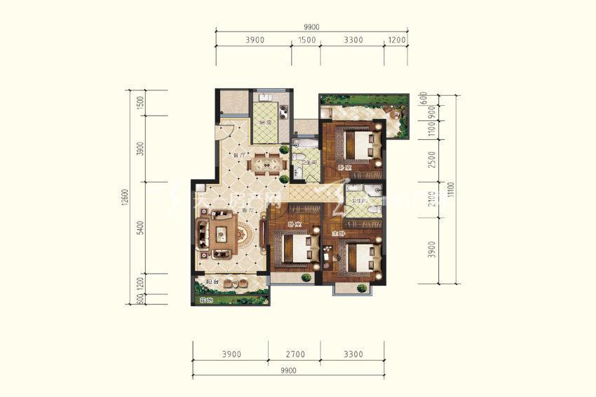 B4户型,3室2厅2卫,建筑面积约115.61平米.jpg