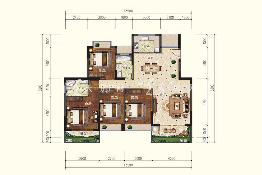 A3户型,4室2厅2卫,建筑面积约143.62平米.jpg
