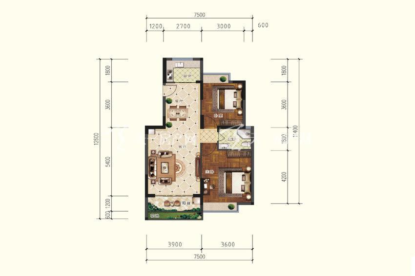 C户型,2室2厅1卫,建筑面积约86.99平米.jpg