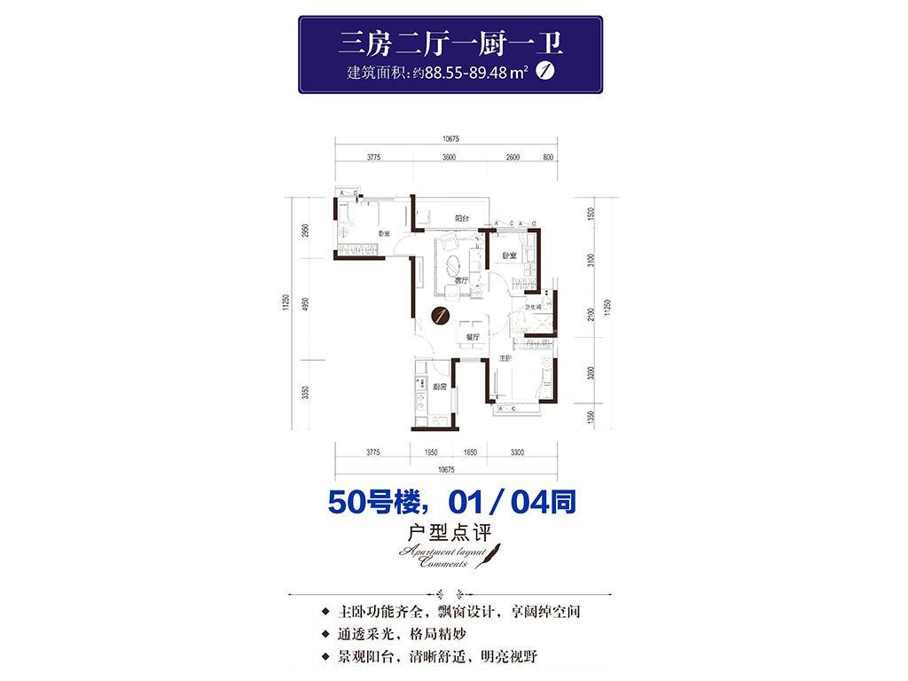 50号楼-01-04户型-三房