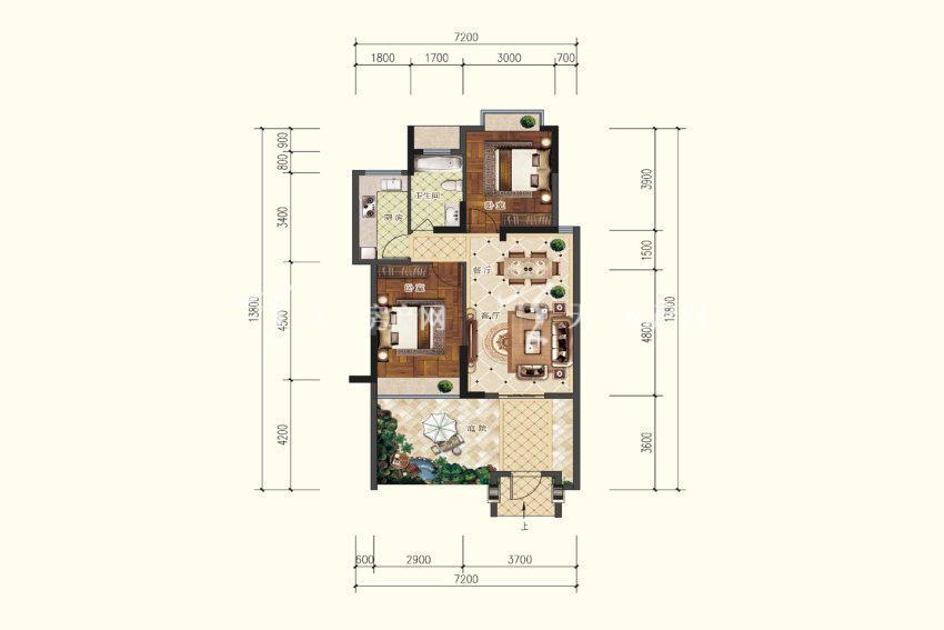 B0户型,2室2厅1卫,建筑面积约71.33平米.jpg