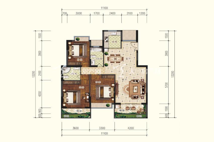B2户型,3室2厅2卫,建筑面积约126.12平米.jpg