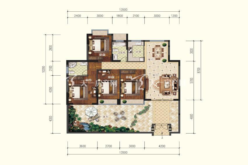 A1户型,4室2厅2卫,建筑面积约127.66平米.jpg