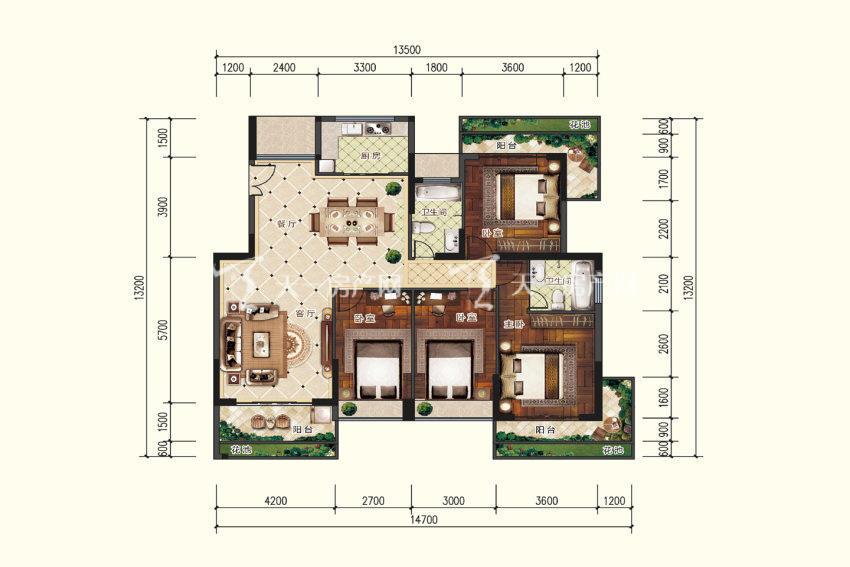 A4户型,4室2厅2卫,建筑面积约154.83平米.jpg