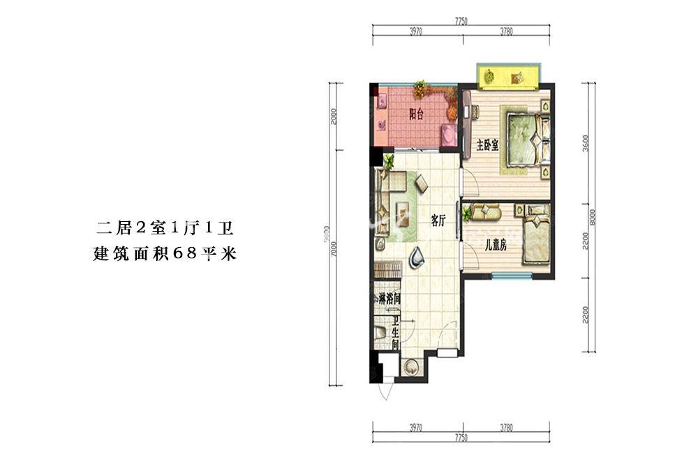 二居2室1厅1卫建筑面积68平米