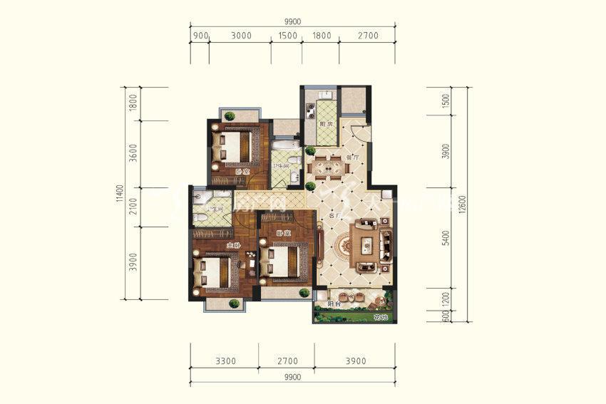 B3户型,3室2厅2卫,建筑面积约109.41平米.jpg
