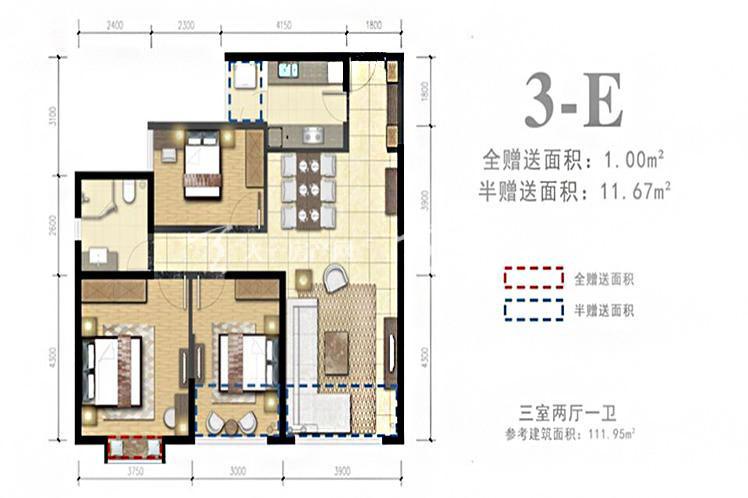 3-E户型3室2厅1卫1厨111.95㎡.jpg