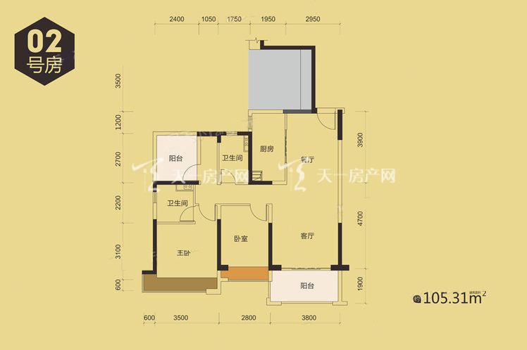 9栋02户型居室:3室2厅2卫1厨建筑面积:105.00㎡.jpg